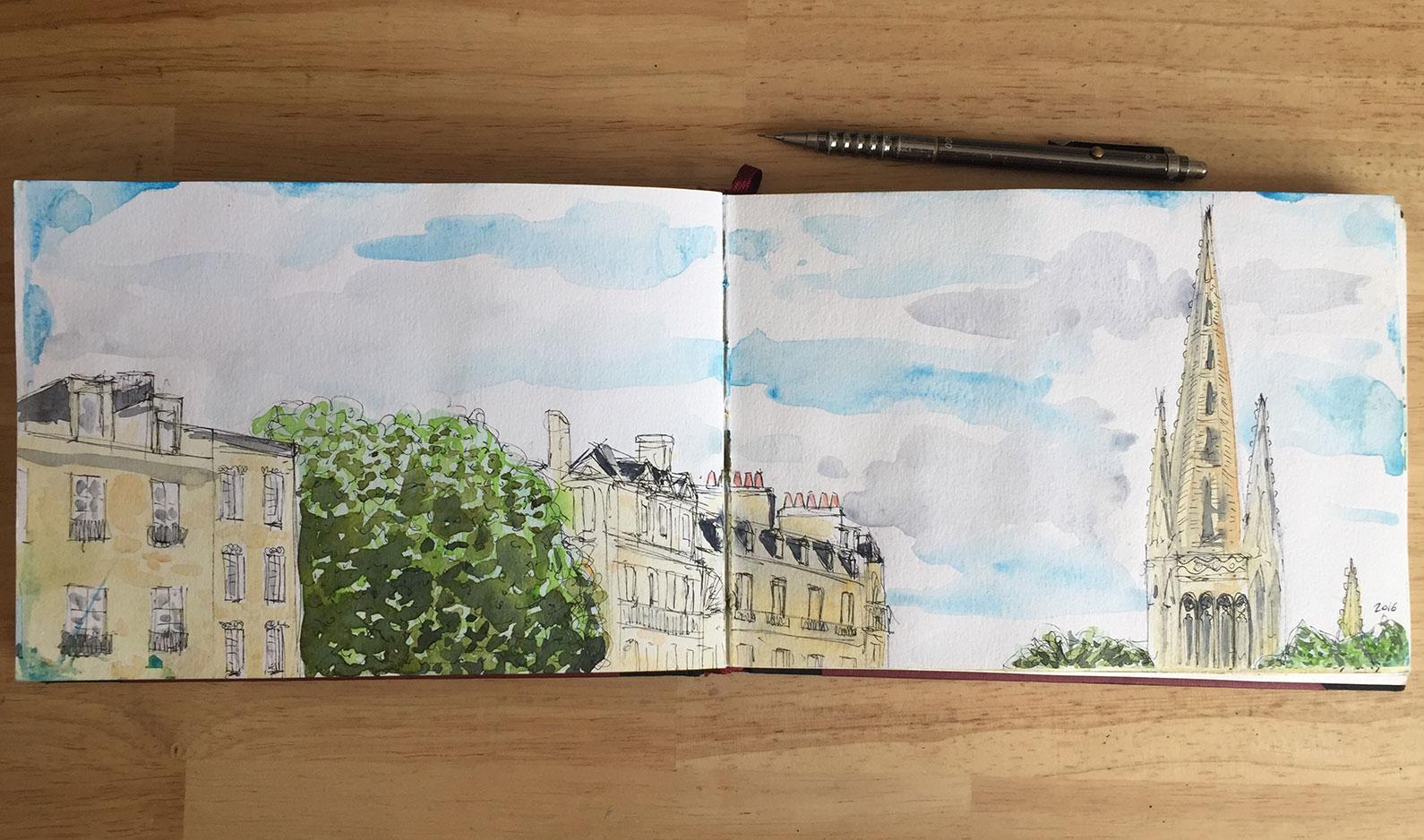 aquarelle place pey berland Bordeaux