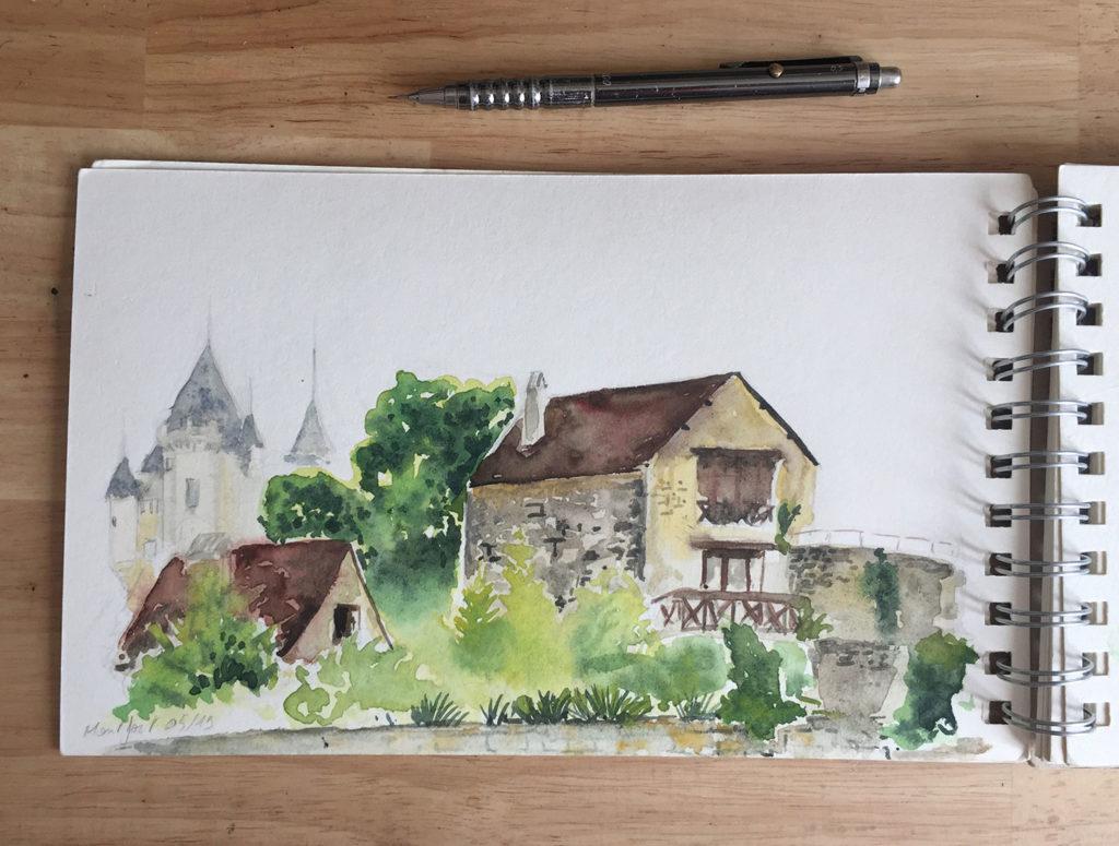 aquarelle paysage Dordogne