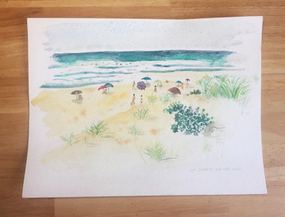 aquarelle paysage plage