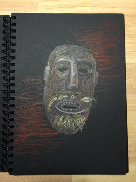 dessin masque crayons couleurs